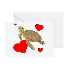 Valentine Sea Turtle Greeting Cards