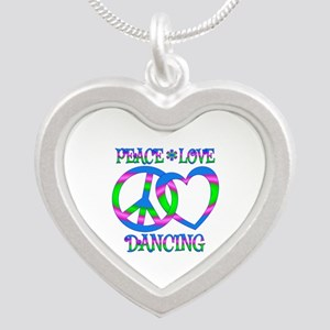 Peace Love Dancing Silver Heart Necklace