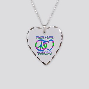 Peace Love Dancing Necklace Heart Charm