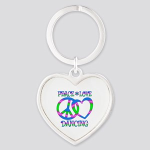 Peace Love Dancing Heart Keychain