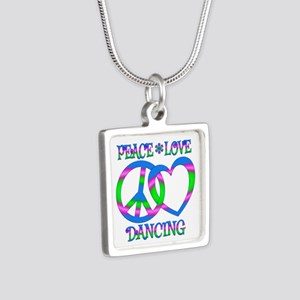 Peace Love Dancing Silver Square Necklace
