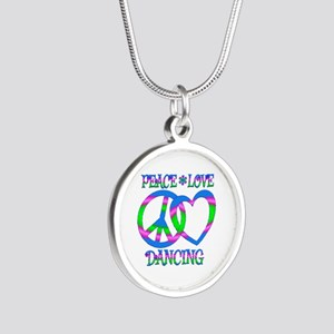 Peace Love Dancing Silver Round Necklace