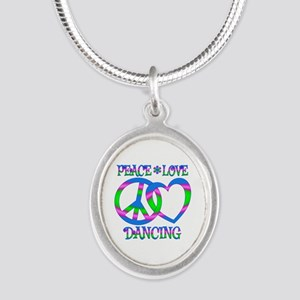 Peace Love Dancing Silver Oval Necklace