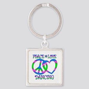 Peace Love Dancing Square Keychain