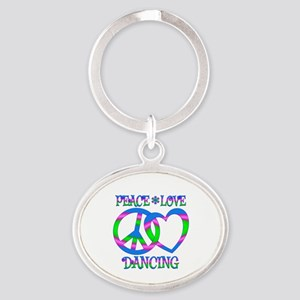 Peace Love Dancing Oval Keychain
