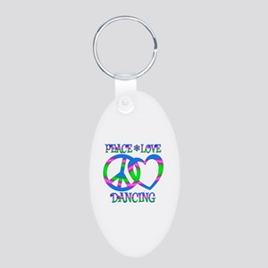Peace Love Dancing Aluminum Oval Keychain