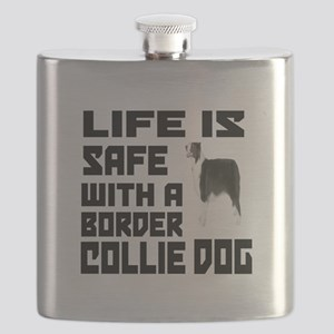 Life Is Safe With A Border Collie Flask