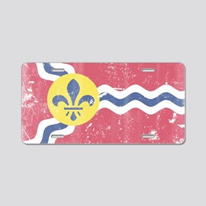 Vintage Grunge Flag of St L Aluminum License Plate