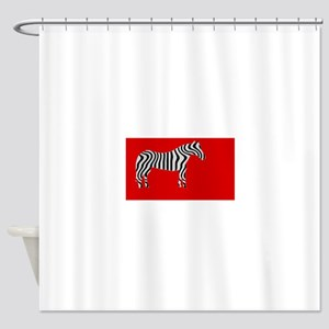 Zebra Cut Out on Red Shower Curtain
