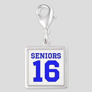 SENIORS 16 - BLUE Silver Square Charm