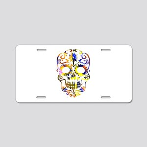 Blue & Yellow Sugar Sku Aluminum License Plate