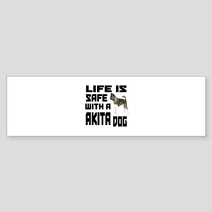 Life Is Safe With A Akita Sticker (Bumper)