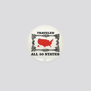 red traveled USA Mini Button