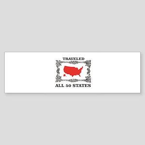 red traveled USA Bumper Sticker