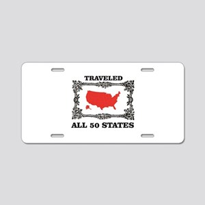 red traveled USA Aluminum License Plate