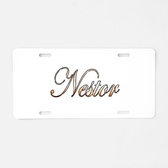 Gold Nestor Aluminum License Plate