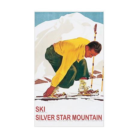 Ski Silver Star Rectangle Sticker