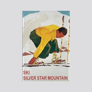 Ski Silver Star Rectangle Magnet