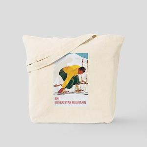 Ski Silver Star Tote Bag
