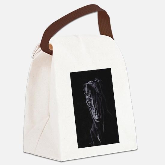 Black greyhound silhouette Canvas Lunch Bag