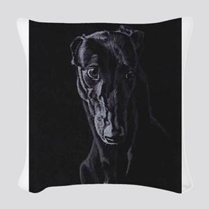 Black greyhound silhouette Woven Throw Pillow