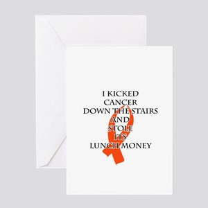 Cancer Bully (Orange Ribbon) Greeting Cards
