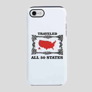 red traveled USA iPhone 8/7 Tough Case