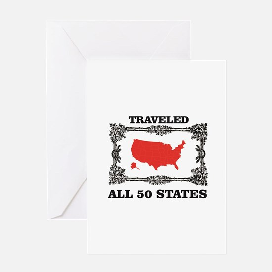 red traveled USA Greeting Cards