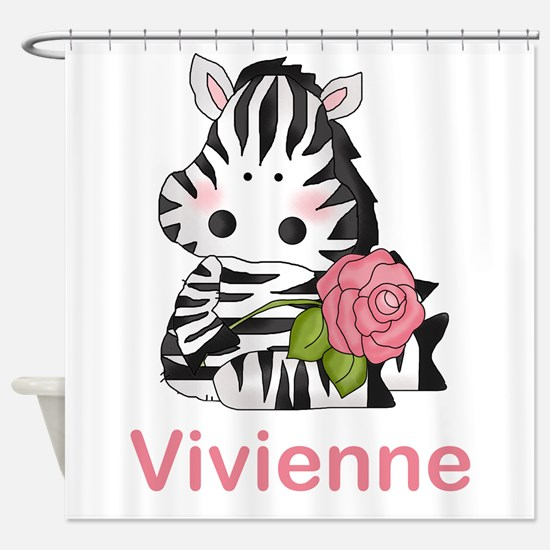 Vivienne's Zebra Rose Shower Curtain