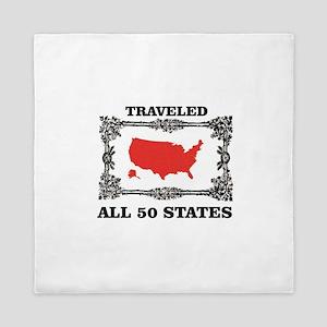red traveled USA Queen Duvet