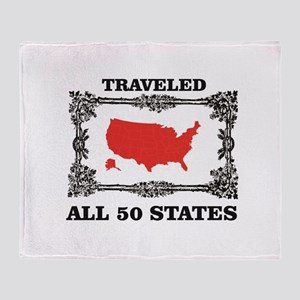 red traveled USA Throw Blanket