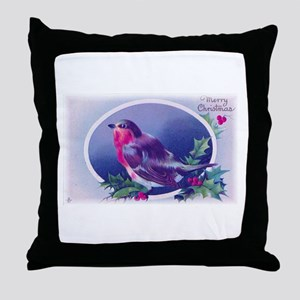 Christmas Bird Blue Throw Pillow