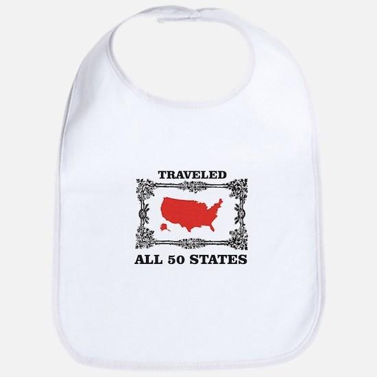 red traveled USA Baby Bib