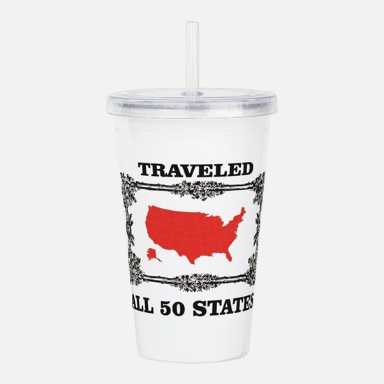red traveled USA Acrylic Double-wall Tumbler