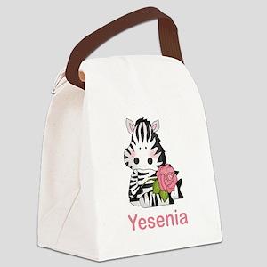 Yesenia's Zebra Rose Canvas Lunch Bag