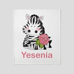 Yesenia's Zebra Rose Throw Blanket