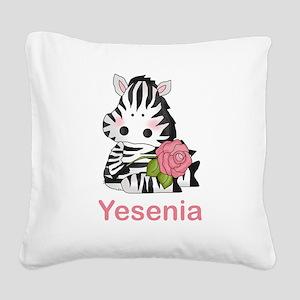 Yesenia's Zebra Rose Square Canvas Pillow