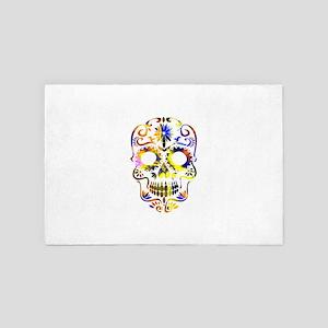 Blue & Yellow Sugar Skull 4' x 6' Rug
