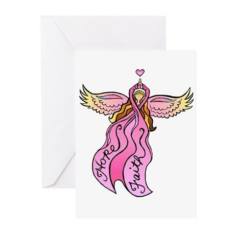 Pink Ribbon Angel Greeting Cards (Pk of 10)
