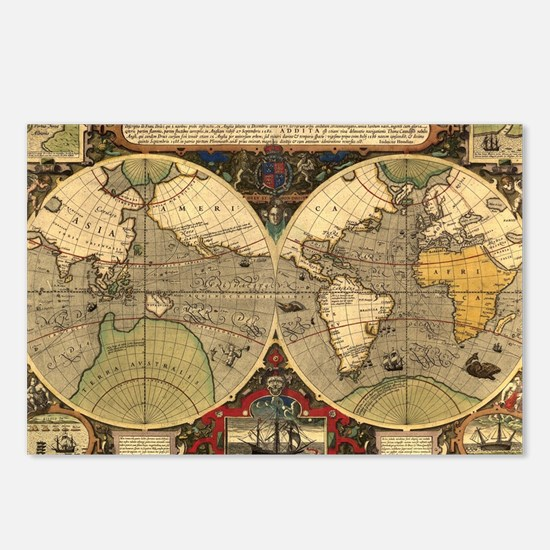 Cute Ancient maps Postcards (Package of 8)