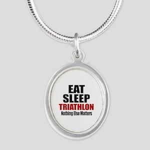 Eat Sleep Triathlon Silver Oval Necklace