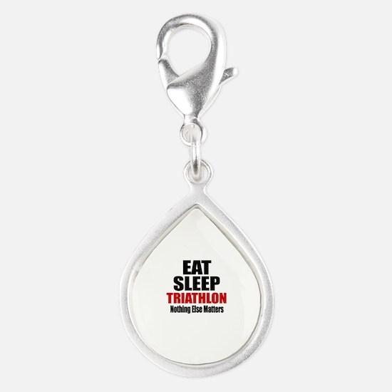 Eat Sleep Triathlon Silver Teardrop Charm