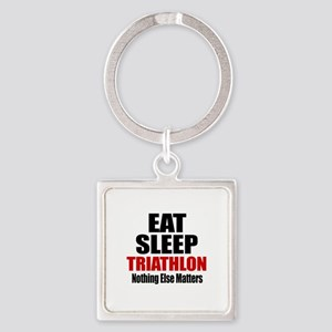 Eat Sleep Triathlon Square Keychain