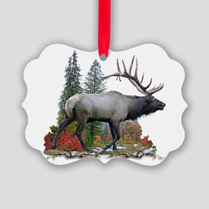 Bull elk r Picture Ornament