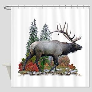 Bull Elk R Shower Curtain