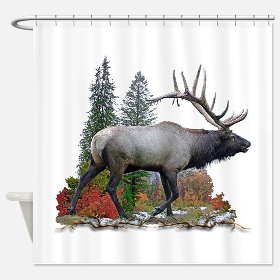 Bull elk r Shower Curtain