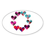 Circle of Iridescent Hearts Sticker (Oval 50 pk)