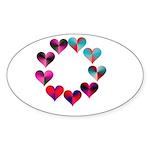 Circle of Iridescent Hearts Sticker (Oval 10 pk)