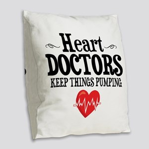 Heart Doctor Burlap Throw Pillow