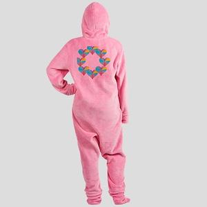 Circle of Rainbow Hearts Footed Pajamas